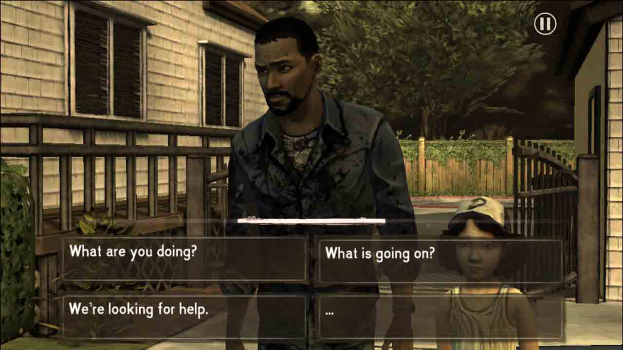A screengrab of The Walking Dead game by TellTale Games. The player has to decide how to respond to a group of strangers.