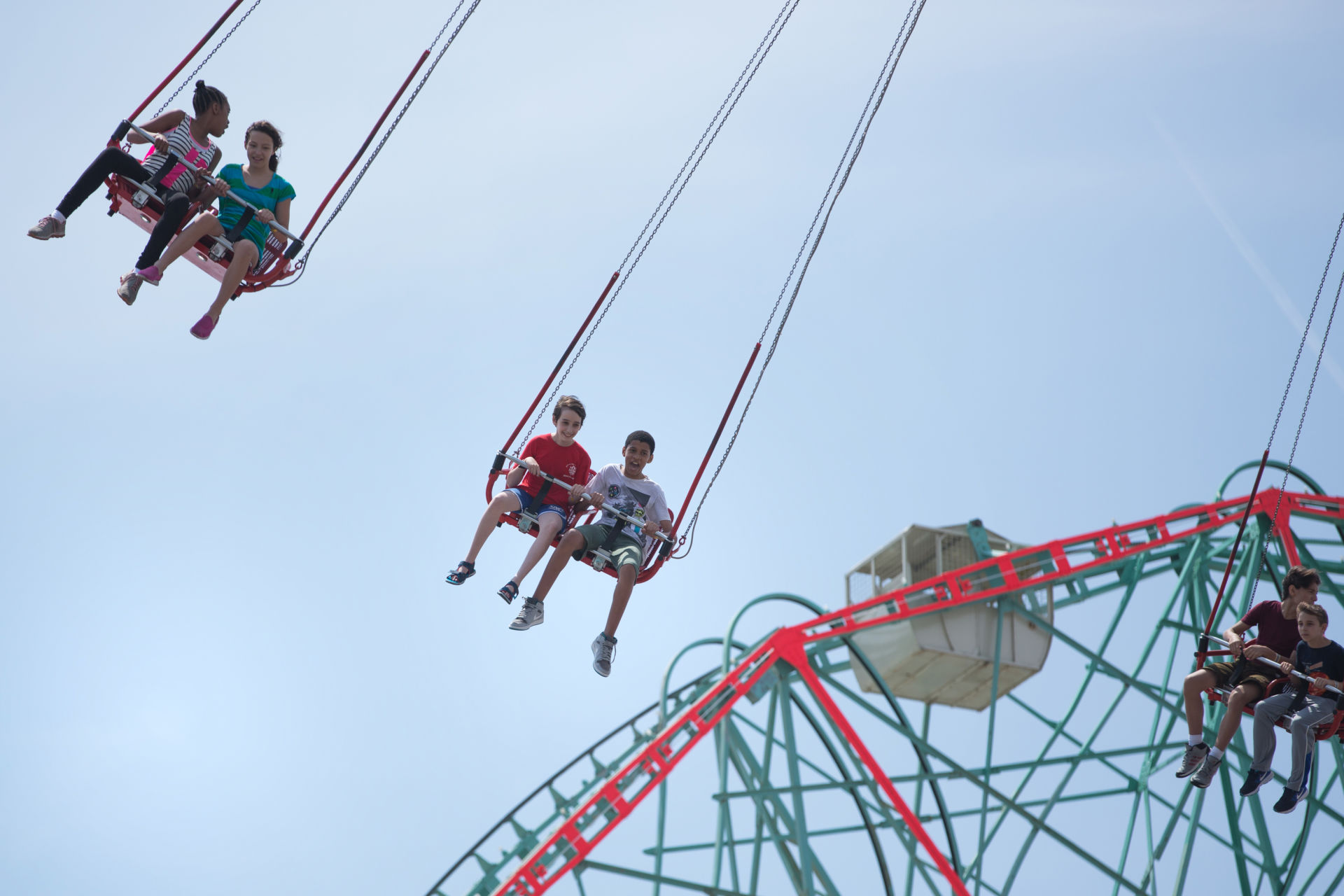 Etai Kurtzman, 12, and Terrell Gantt, 12, on a ride at Luna Park in Coney Island in Brooklyn, NY May 28, 2015. The group of students from Quest to Learn School took the day trip to Coney Island to analyze user experience on games and rides at Luna Park as part of  their late-spring school curriculum.