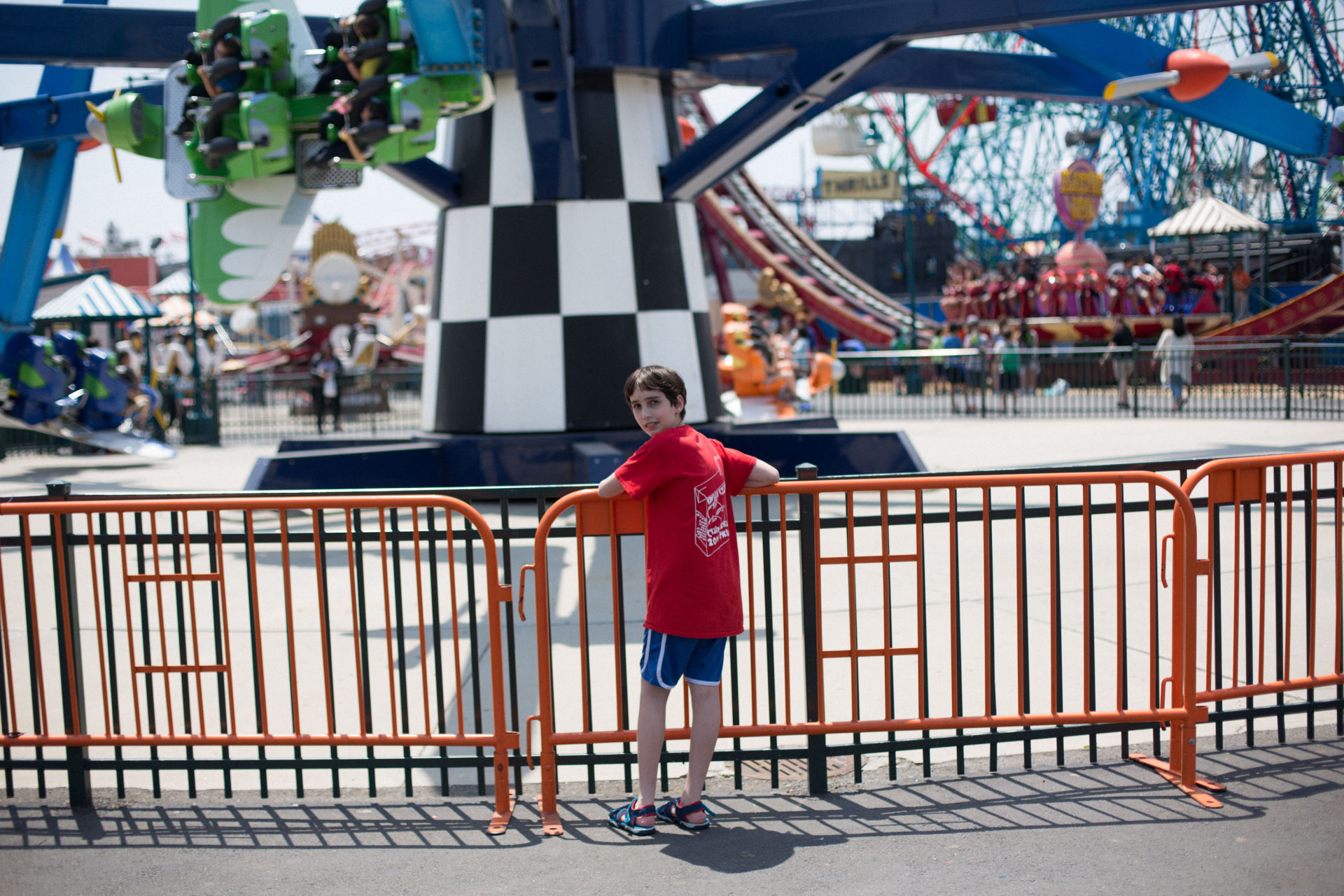 Etai Kurtzman, 12, at Luna Park in Coney Island in Brooklyn, NY May 28, 2015. The group of students from Quest to Learn School took the day trip to Coney Island to analyze user experience on games and rides at Luna Park as part of  their late-spring school curriculum.