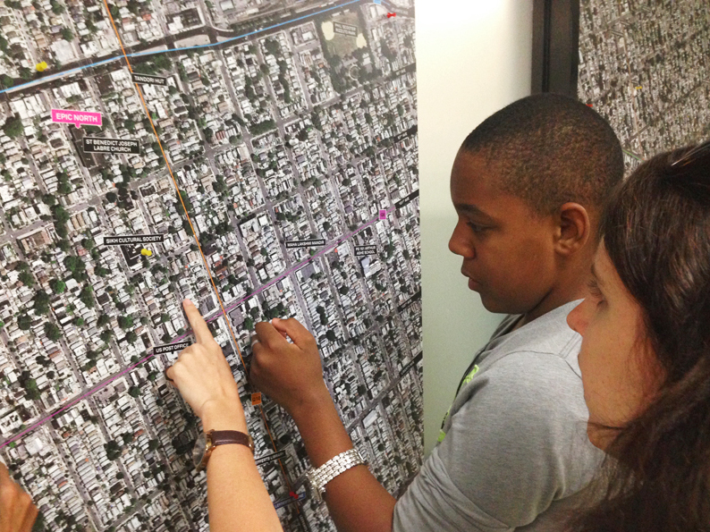 Students help Kurani designers learn about their neighborhood.