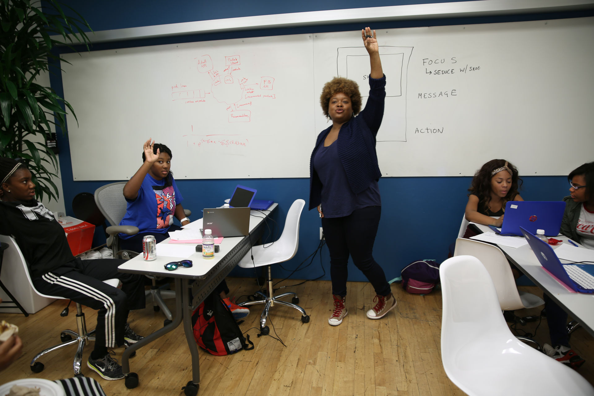 Keisha Michelle Richardson, a software engineer and entrepreneur, leads a summer camp lesson at Black Girls Code in San Francisco.