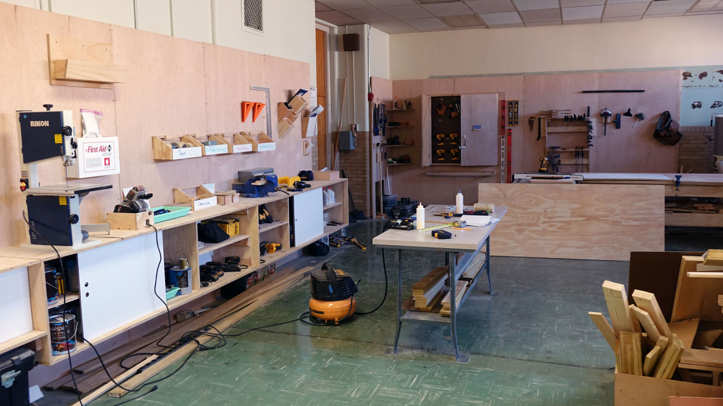 The SLA Beeber makerspace is in a converted classroom.