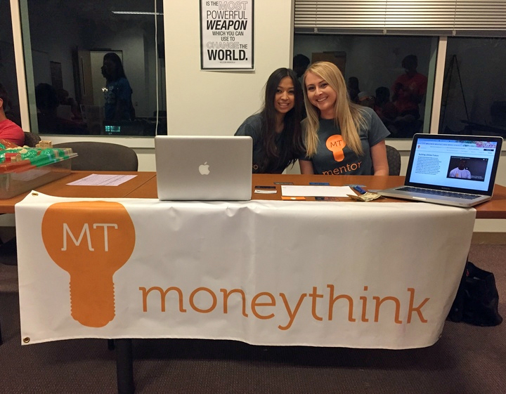 Brittany Bui (left) and AJ Wheatley, co-presidents of the Moneythink chapter at Chapman University in Orange, California, at last year's freshman activity fair.