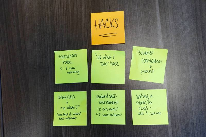 "Sampling of ""hacks"" suggested by SFUSD administrators in a debrief."