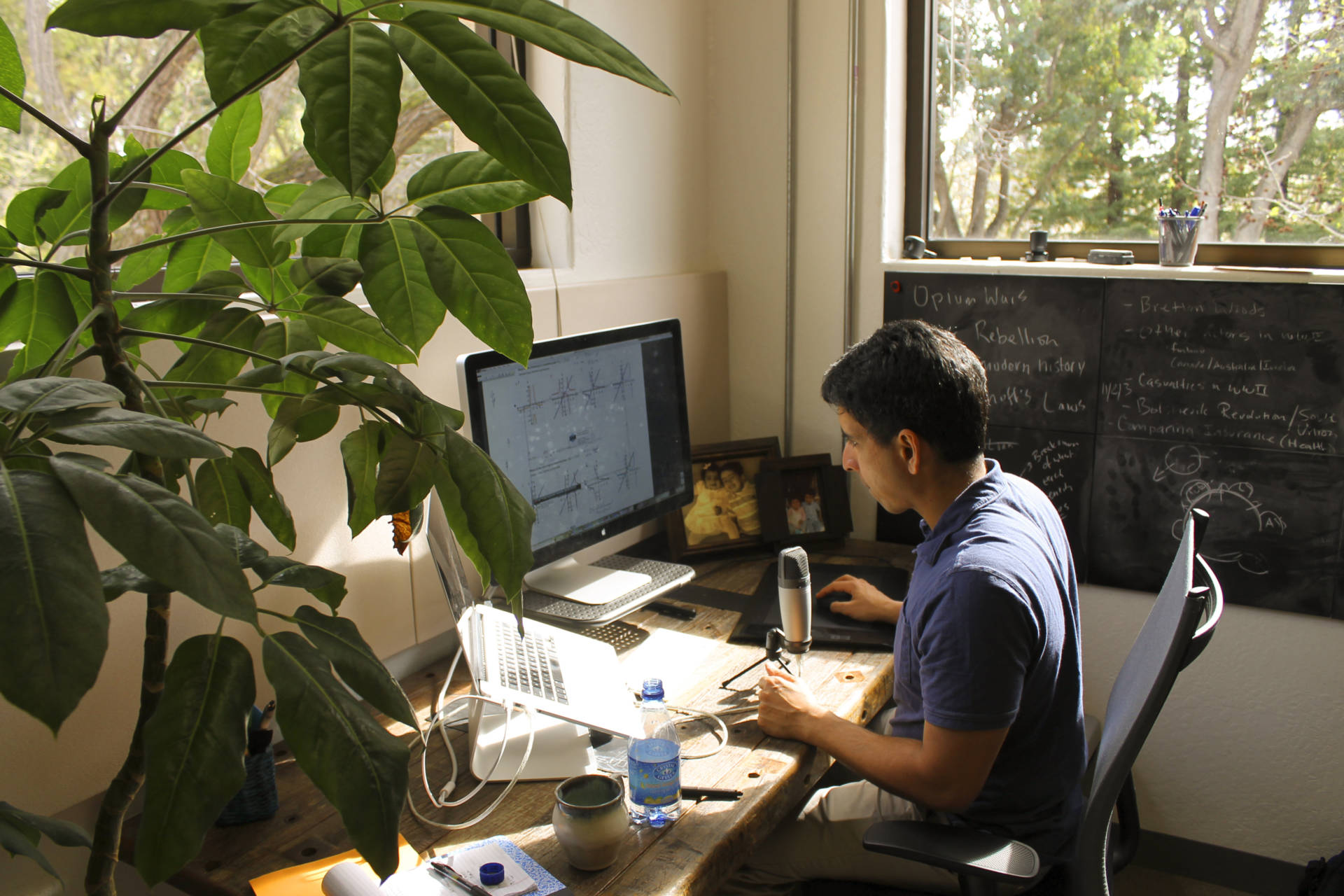 Sal Khan works at his office in Mountain View, Calif. He still starts the day making video tutorials, which he's done for a decade, for his online academy.