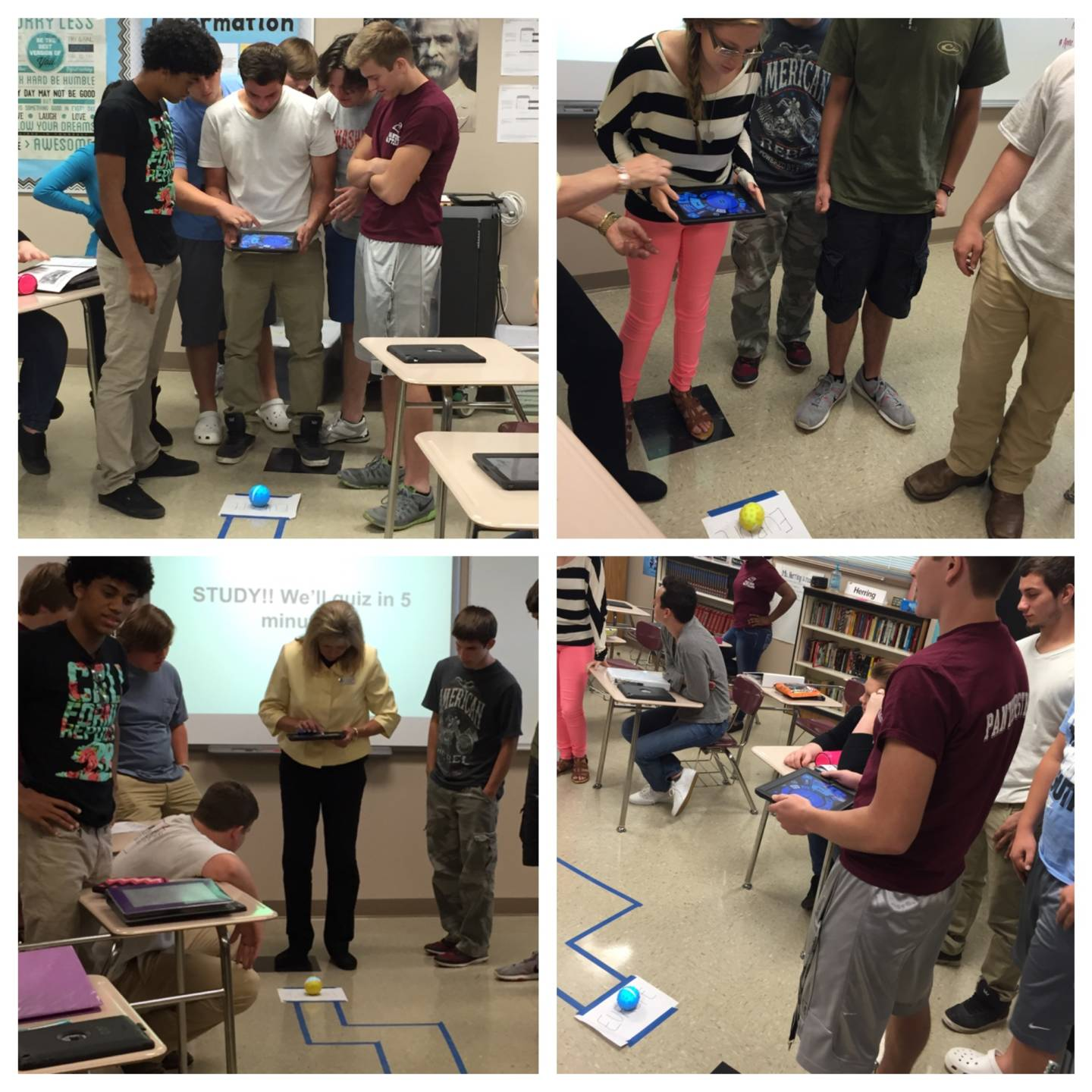 Students experiment with the Spheros, learning how to manipulate them through a maze representing the journey from Europe to the New World.