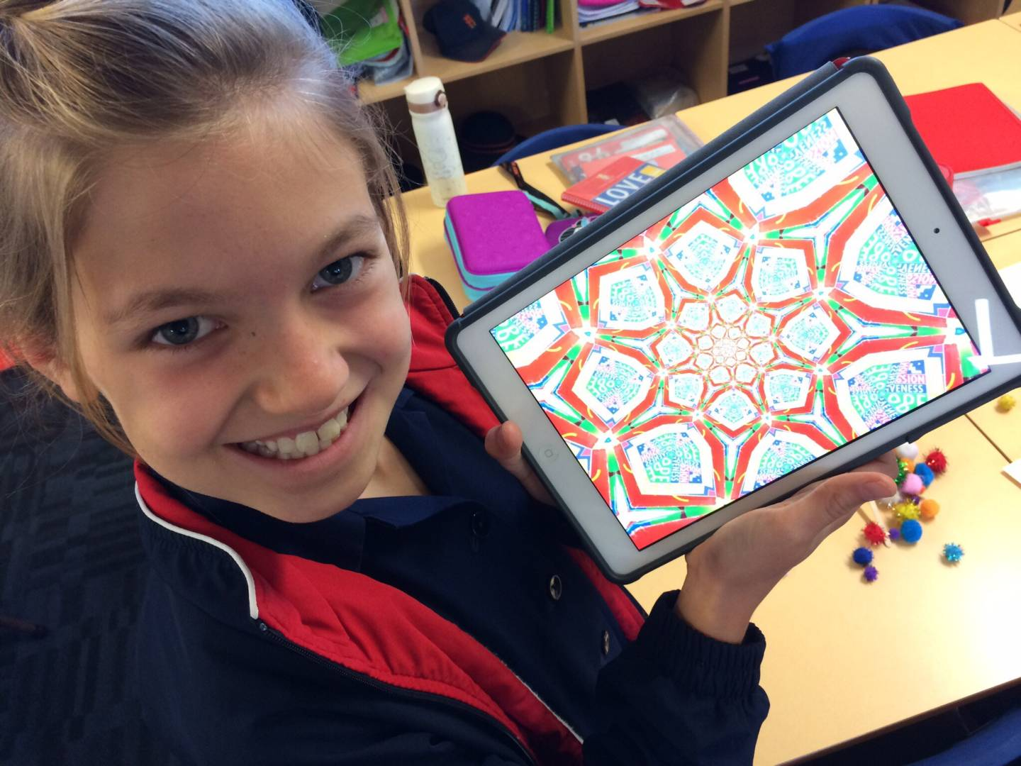 St. Hilda's student with her kaleidoscope camera.