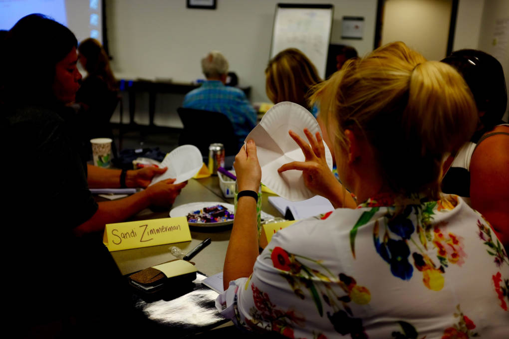Teachers at the Crooked River Math Teachers' Circle grapple with a problem during a week-long summer institute.