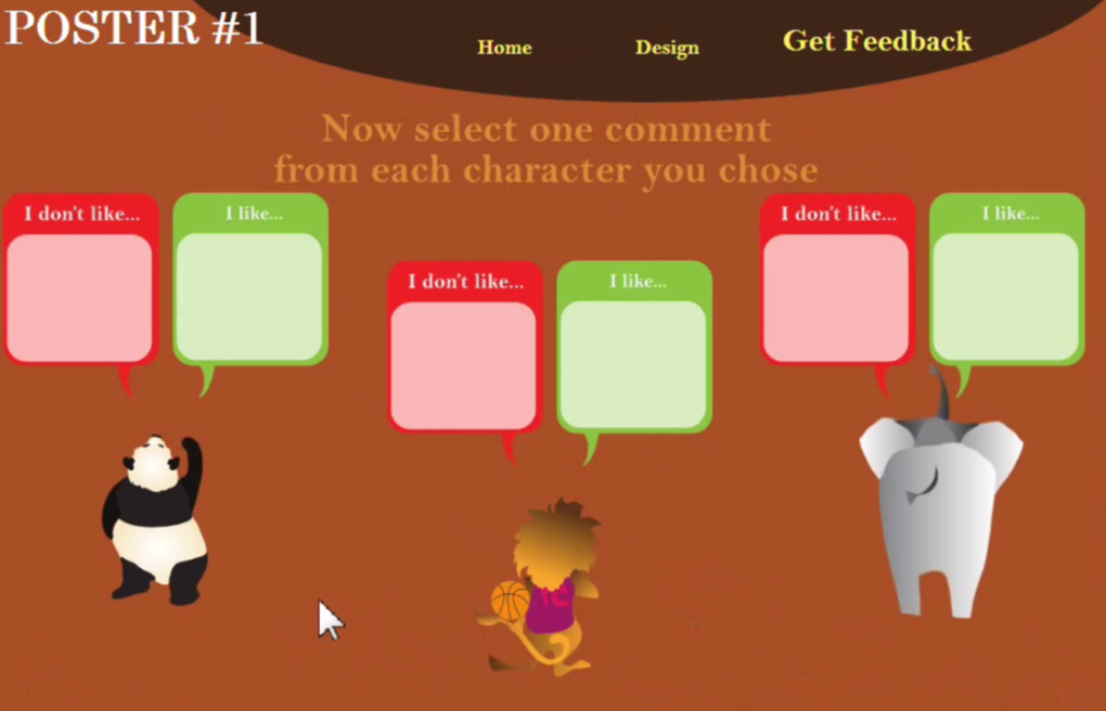Screenshot from Schwartz' feedback game. Students could choose to either hear positive or negative feedback on their posters.