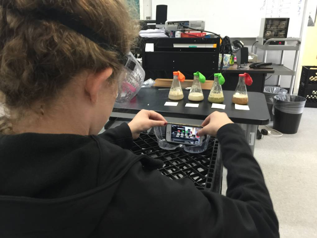 A student captures her Iron Chef Lab with a time lapse video.