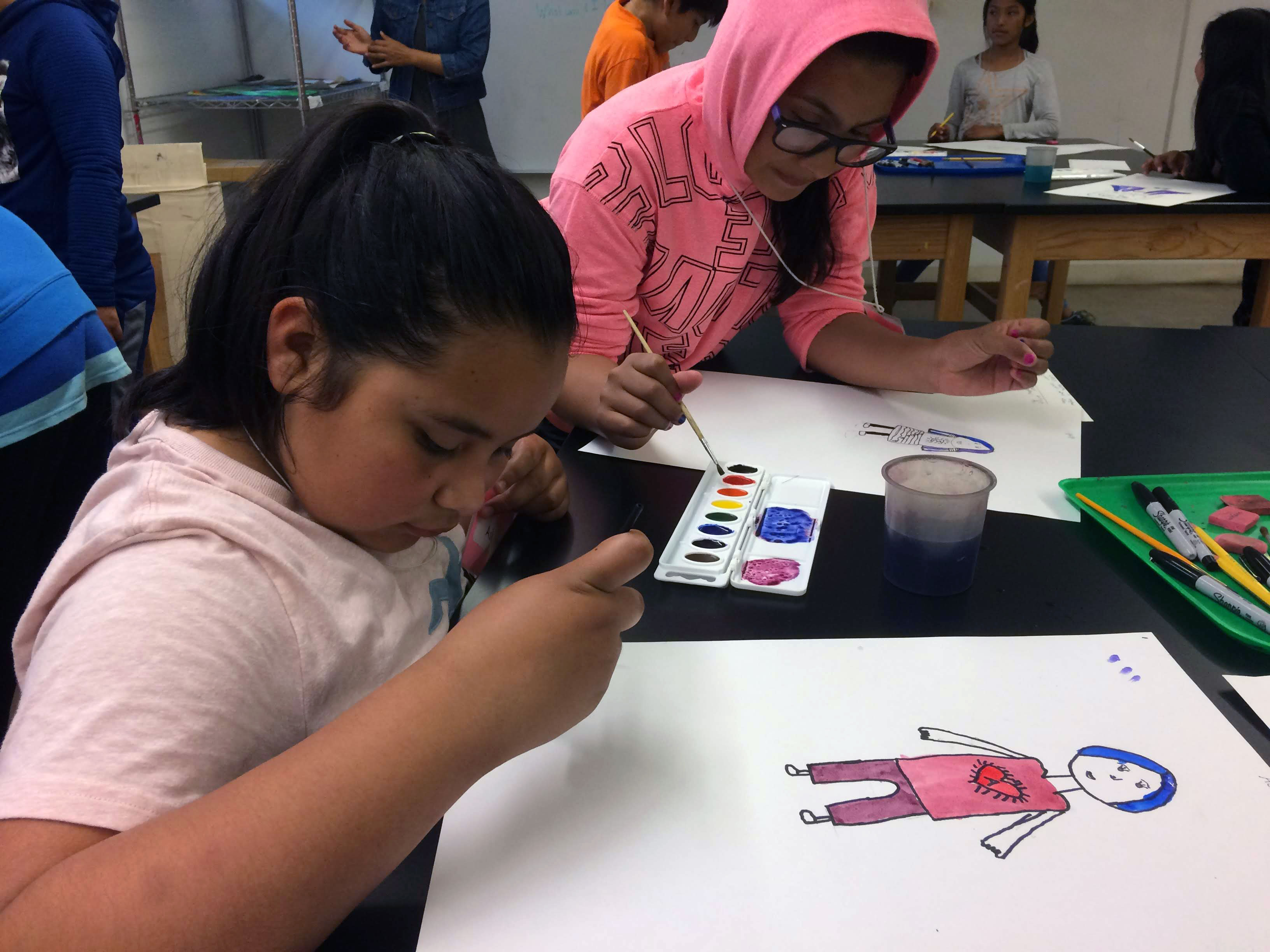 Horizons students during art class.
