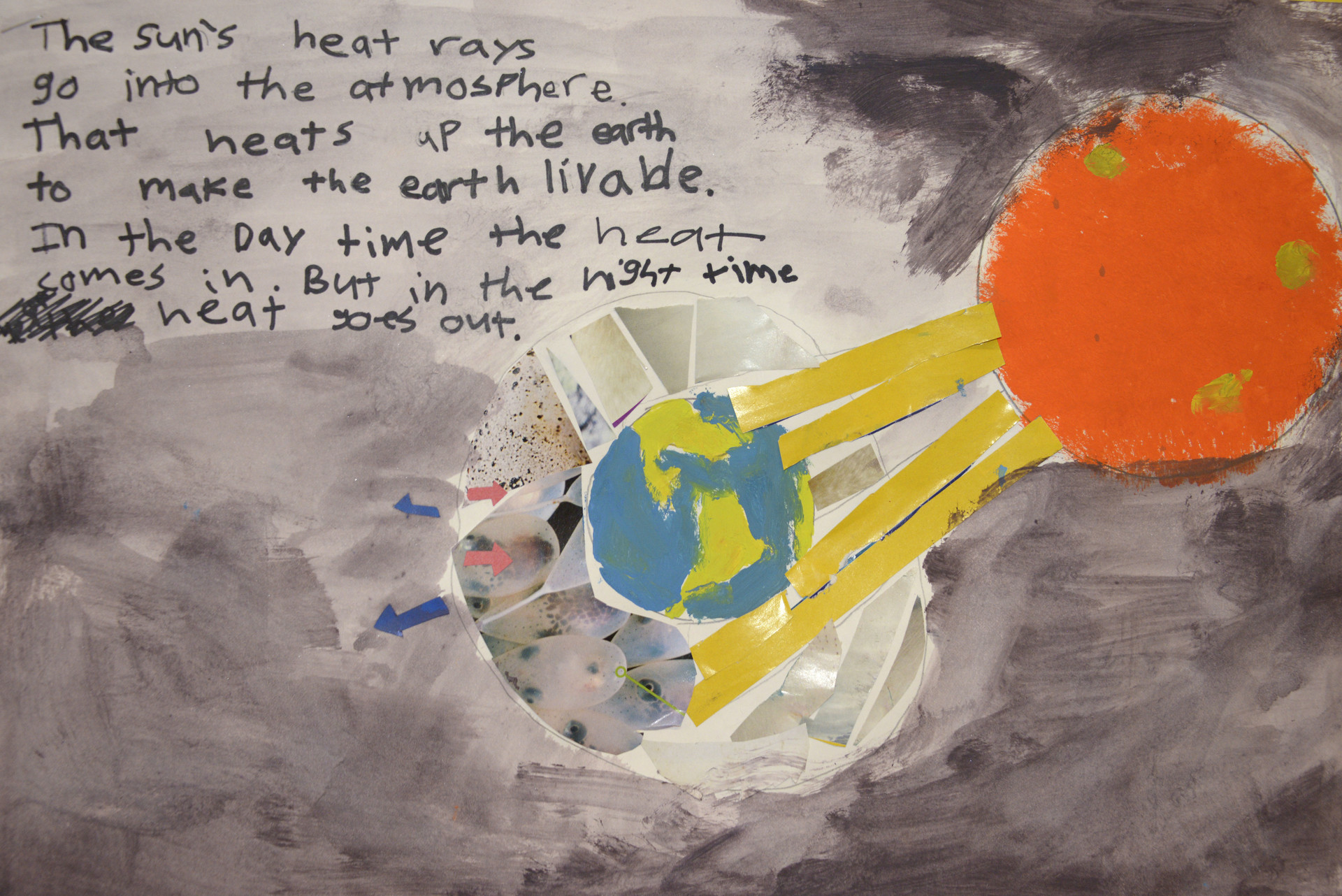 John's artwork depicting the greenhouse gas effect.