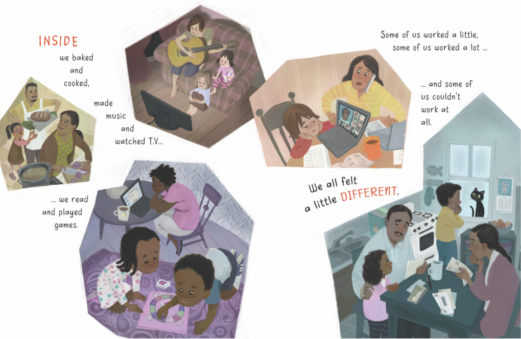 """A page from the children's book """"Outside, Inside"""" by LeUyen Pham about life during the pandemic."""