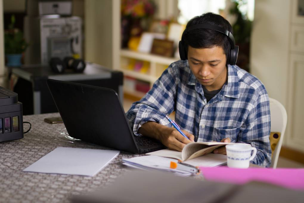 Student during distance learning