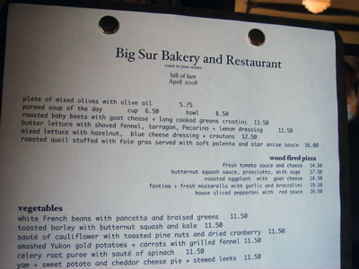 Big Sur Bakery and Restaurant menu