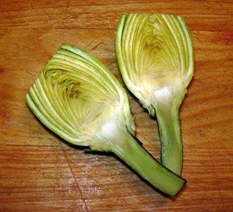 cut artichoke in half lengthwise