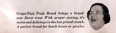 kate smith Grape-Nuts Bread recipe blurb