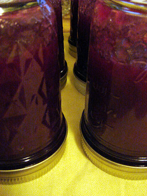 plum jam jars turned over