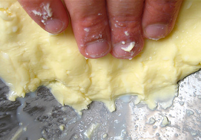 squeeze and knead butter