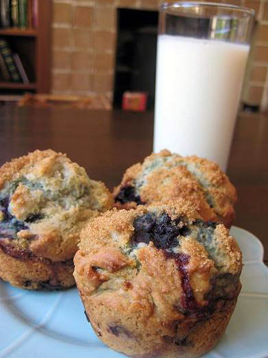 blueberry muffins and milk