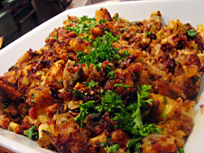 Chesapeake Memories Sausage and Oyster Dressing with Red Quinoa and Crispy Apples