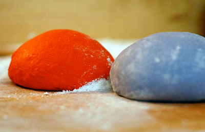 red and blue dumpling dough