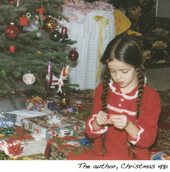 Stephanie as a child at Christmas