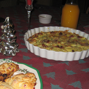 frittata on table