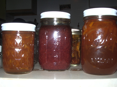 Homemade jams and pickles from the pantry