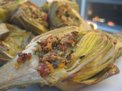 a grilled stuffed artichoke