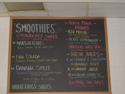 menu at slice smoothie bar