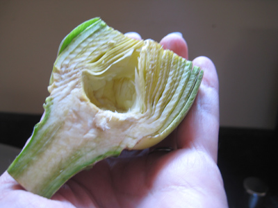 trimmed artichoke cut in half