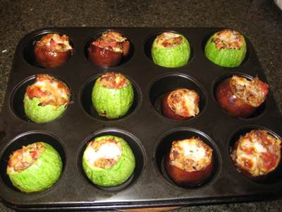 grilled squash and eggplant in muffin tin