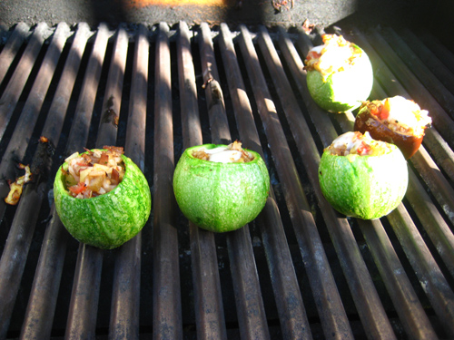 grilling the veggies