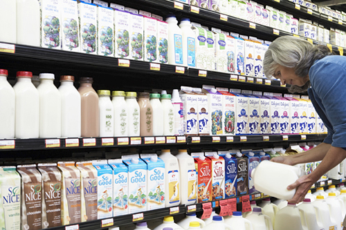 Milk and Soy milk in store