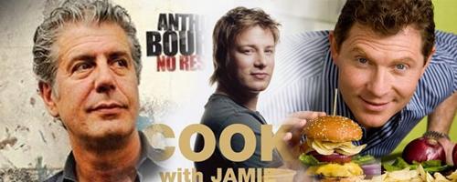 dude chefs - Anthony Bourdain, Jamie Oliver, Bobby Flay