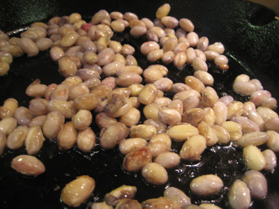 frying cranberry beans