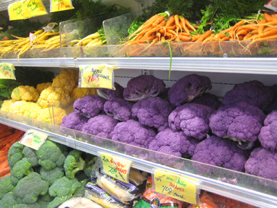 cauliflower in various colors
