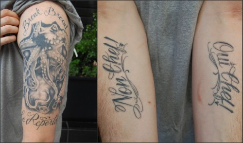 Chad Newton shows off his two food-related tattoos