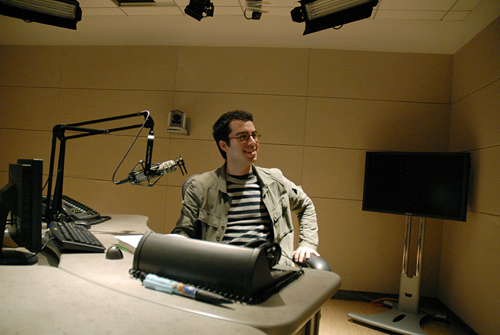 Jonathan Safran Foer in KQED radio studio waiting to read from his book Eating Animals