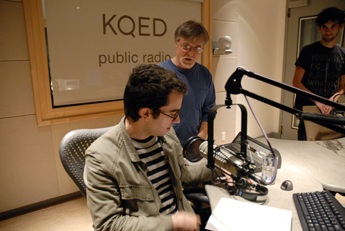 Jonathan Safran Foer preparing to record a reading of his book Eating Animals for Writers Block at KQED. Howard Gelman, KQED Radio and Emmanuel Hapsis, KQED Interactive set up the equipment and prep him for the reading.