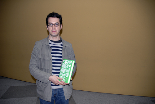 Jonathan Safran Foer with his book Eating Animals at KQED