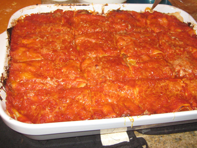 lasagna in a pan