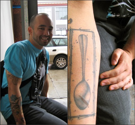 Richie Nakano, sous chef at NOPA, displaying his Oneida spoon tattoo