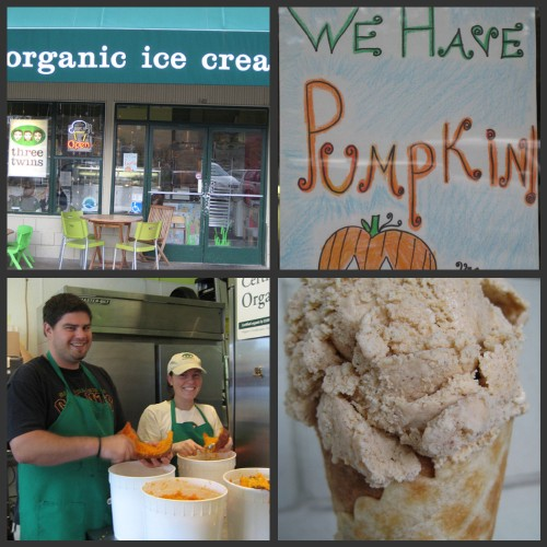 Pumpkin pie ice cream, from beginning to end, at Three Twins Ice Cream