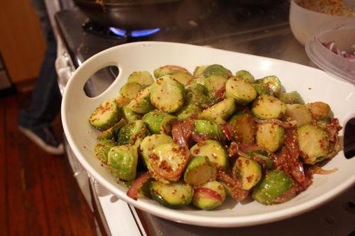 Brussels Sprouts with Red Onions in a Mustard Vinaigrette