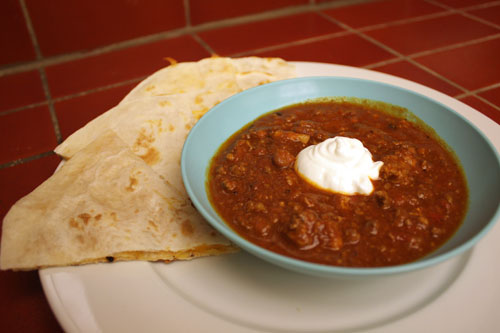 Chili with Cheese Quesadillas
