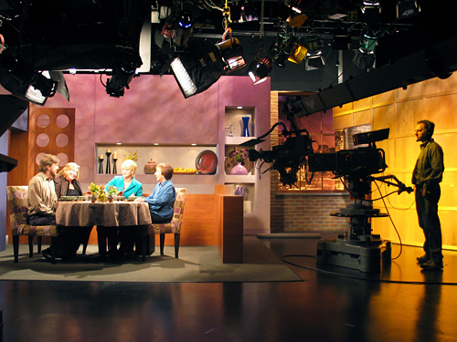 Taping Check, Please! Bay Area at KQED TV studio. Photo by Wendy Goodfriend.
