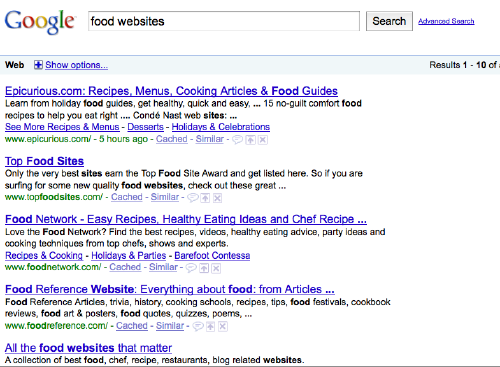 food website google search