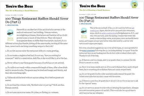 100 Things Restaurant Staffers Should Never Do. By Bruce Buschel